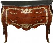 Casa Padrino Barock Kommode Braun mit Marmorplatte Mahagoni Intarsien B 129 cm - Barock Möbel Kommode