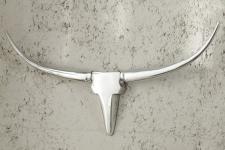 Designer Geweih Shine Deko Bull aus poliertem Aluminium Höhe: 35 cm, Breite: 75 cm, Tiefe: 5 cm - Wandfigur - Geweih - Wandgeweih