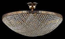 Casa Padrino Barock Kristall Decken Kronleuchter Gold 50 x H 29 cm Antik Stil - Möbel Lüster Leuchter Hängeleuchte Hängelampe