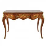 Casa Padrino Barock Schreibtisch Mahagoni Intarsien / Gold 120 cm - Antik Stil Sekretär Luxus Möbel