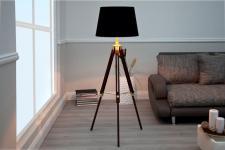 Casa Padrino Designer Stativ-Lampe, Stehleuchte in Braun H: 91 - 153 cm - Tripod floor lamp