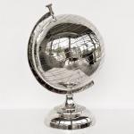 Casa Padrino Luxus Globus Aluminium vernickelt 54 x 36 x 36 cm - Deko Globus - Art Deco