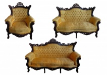 Casa Padrino Barock Wohnzimmer Set Master Gold Muster / Mahagoni Braun - 3er Sofa + 2er Sofa + 1 Sessel