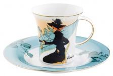 """Handgearbeitete Kaffeetasse aus Porzellan mit einem Motiv von T. Lautrec """" Divan Japonais"""" 0, 21 Ltr. - feinste Qualität aus der Tettau Porzellanfabrik - wunderschöne Tasse"""