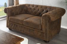 Chesterfield 2er Sofa Antikbraun aus dem Hause Casa Padrino - Wohnzimmer Möbel - Couch