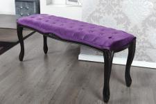 Casa Padrino Barock Sitzbank Lila/Schwarz Breite 115 cm, Höhe 45 cm - Antik Stuhl