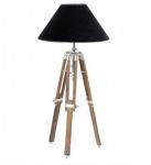 Designer Stativ-Lampe Telescope, Hockerleuchte mit schwarzem Schirm, H: 60 cm - Tripod lamp