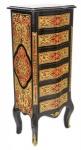 Casa Padrino Barock Boulle Kommode Schwarz / Gold / Rot mit 6 Schubladen - Möbel Schrank Sideboard