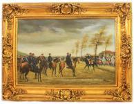 Handgemaltes Barock Öl Gemälde Aufmarsch Gold Prunk Rahmen 130 x 100 x 10 cm - Massives Material