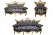 Casa Padrino Barock Wohnzimmer Set Schwarz Muster/ Gold - 3er Sofa+2er Sofa + 1 Sessel