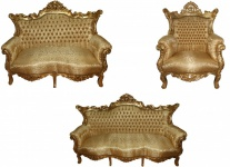 Casa Padrino Barock Wohnzimmer Set Master Gold Muster/ Gold - 3er Sofa+2er Sofa + 1 Sessel
