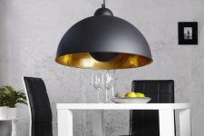 Designer Pendelleuchte aus Edelstahl, Schwarz / Gold, Durchmesser 55 cm - Leuchte Lampe
