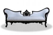 Casa Padrino Barock Sofa Vampire Schwarz Weiß 220 x 70 x H. 80 cm - Lounge Couch