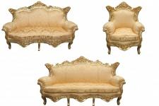 Casa Padrino Barock Wohnzimmer Set Gold Blumen Muster/ Gold - 3er Sofa+2er Sofa + 1 Sessel
