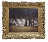 Handgemaltes Barock Öl Gemälde mit 12 süßen Katzenkinder, Gold Prunk Rahmen 85, 5 x 75, 5 x 7 cm - Massives Material