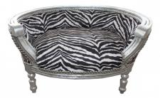 Barock Hunde & Katzen Sofa Zebra /Silber Hundebett & Katzenbett