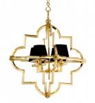 Casa Padrino Barock Luxus Kronleuchter 4-Flammig Jugendstil Gold / Schwarz - Möbel Lüster Leuchter Hängeleuchte Hängelampe