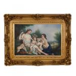 Handgemaltes Barock Öl Gemälde Engel Bildniss 4 Gold Prunk Rahmen 130 x 100 x 10 cm - Massives Material