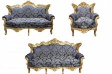 Casa Padrino Barock Wohnzimmer Set Royal Blau Muster/ Gold - 3er Sofa+2er Sofa + 1 Sessel