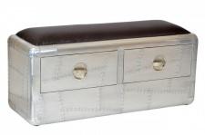 Casa Padrino Art Deco Designer Flieger Sitzbank Aluminium mit 2 Schubladen 110 x 40 x 55 cm - Vintage Look