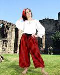 John Silver Striped Piraten Hose - Black - Red