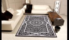 Casa Padrino Orient Teppich Schwarz / Grau / Weiß - Handgefertigt - Möbel Barock Teppich