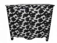 Casa Padrino Barock Kommode Kuh Muster Stoff bezogen Schwarz/Weiß 1 B Ware