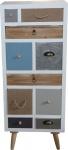 Designer Kommode mit 10 Schubladen im Landhausstil Höhe 115 cm, Breite 48 cm