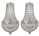 Casa Padrino Barock Wandleuchten Set Kristall Silber - Wandlampe Wand Beleuchtung