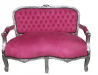 Casa Padrino Barock Kinder Sitzbank Rosa/ Silber Antik Stil