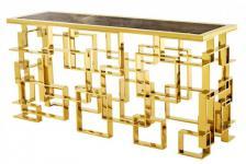 Casa Padrino Art Deco Luxus Konsole Edelstahl / Gold Finish mit Marmorplatte 150 x 60 x H. 77 cm - Konsolen Tisch - Sekretär Konsole - Telefontisch - Hotel Möbel