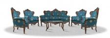 Casa Padrino Barock Sofa Set 3er Sofa 4 Sessel und Tisch mit Glasplatte - Antik Möbel