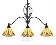 Handgefertigte Tiffany Hängeleuchte von Casa Padrino Höhe 100 cm, Länge 95 cm, 3-Flammig - Leuchte Lampe - wunderschöne Deckenleuchte