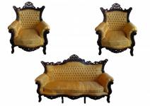 Casa Padrino Barock Wohnzimmer Set Master Gold Muster / Mahagoni Braun - 3er Sofa + 2 Sessel