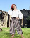 John Silver Striped Pants Black/White - Medieval Pirat