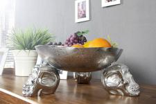 Designer Obstschale Skull silber aus Aluminium Höhe 15 cm, Durchmesser 35 cm - Schale, Obstkorb, Deko Schale