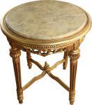 Großer Barock Beistelltisch Rundtisch mit Marmorplatte Gold / Creme - Antik Stil Tisch Möbel H 71 cm B 63 cm