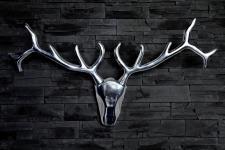 Designer Geweih Shine Deko Hirsch aus poliertem Aluminium Höhe: 45 cm, Breite: 90 cm - Wandfigur - Geweih - Wandgeweih