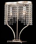 Casa Padrino Jugendstil Tischleuchte Kristallglas / Gold 2-Flammig - Nachttisch Leuchte Barock