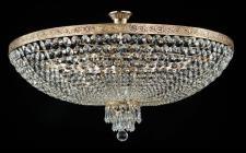 Casa Padrino Barock Kristall Decken Kronleuchter Gold 80 x H 44, 2 cm Antik Stil - Möbel Lüster Leuchter Hängeleuchte Hängelampe