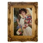 Handgemaltes Barock Öl Gemälde Damen Porträt Madame 2 Gold Prunk Rahmen 130 x 100 x 10 cm - Massives Material