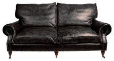 Casa Padrino Luxus Echt Leder Sofa Vintage Leder 3 Sitzer Schwarz Art Deco