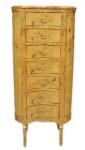 Casa Padrino Barock Kommode Vogelaugen Ahorn / Gold mit 7 Schubladen Oval - Antik Stil