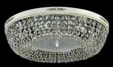 Casa Padrino Barock Kristall Decken Kronleuchter Cream Gold 60 x H 15 cm Antik Stil - Möbel Lüster Leuchter Hängeleuchte Hängelampe