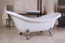 Freistehende Luxus Badewanne Jugendstil Venedig Weiß/Silber - Barock Badezimmer - Retro Badewanne Antik Stil - Badewanne Freistehend