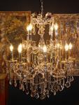 Casa Padrino Barock Kristall Kronleuchter 12-Flammig Silber - Hängeleuchte Lüster Hängelampe Deckenlampe