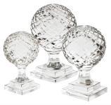 Casa Padrino Luxus Kristall Kugel 3er Set auf Sockel - Casa Padrino Luxus Collection