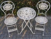 Jugendstil Gartenmöbel Set Altweiss - 1 Tisch, 2 Stühle - Eisen - Garten Möbel Barock