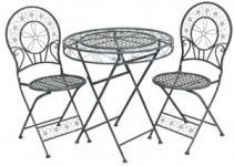 Jugendstil Gartenmöbel Set Hellgrau - Bistro Set - 1 Tisch mit 2 Stühlen Model Venedig