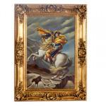 Handgemaltes Barock Öl Gemälde Napoleon auf Pferd Gold Prunk Rahmen 130 x 100 x 10 cm - Massives Material
